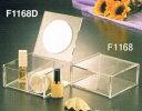 在庫処分特別価格 メイクボックス ミラーF1168D ◆鏡付き コスメケース 正方形深型 仕切りあり おまけ付 卓上ミラー スタンドミラー 化粧鏡 コスメボックス メイクケース リップ収納 ネイル収納