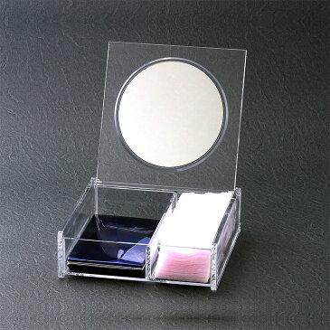 在庫処分特別価格 メイクボックス ミラー ◆鏡付き コスメケース 正方形 仕切り付き おまけ付 卓上ミラー スタンドミラー 化粧鏡 コスメボックス メイクケース リップ収納 ネイル収納