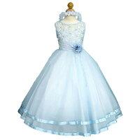 子供ドレス★パールがキラキラシルエットが美しい高級プリンセスドレス「ブルー」