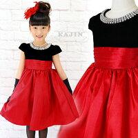 ブラックベロアラウンドビジューレッドスカートドレス胸元ラウンドビジューがキラキラブラックベロアのトップと赤のスカートが鮮やかなフォーマルドレス