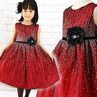 子供ドレス結婚式発表会女の子フォーマルキッズジュニアバーガンディシルバードットブラックコサージュドレス90100110120130140