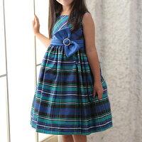 女の子フォーマルドレスブルー&グリーンチェック柄プリンセスドレス1点のみゆうパケット発送OK100110120125cm