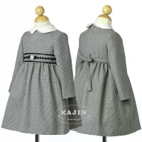 胸の刺繍がシックなモノトーン千鳥格子のウールワンピース【卒業式入学式七五三結婚式】