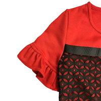 ジュニアブラックレースフリル袖ワンピースドレス「レッド」