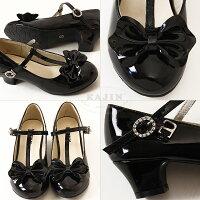 女の子フォーマル靴シューズエナメルパンプスストラップブラックピンクレッドリボントゥTストラップキッズエナメルフォーマルパンプス192020.52121.52222.523cm結婚式発表会