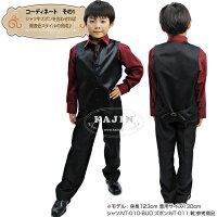男の子フォーマル他★グループ向けステージ衣装に♪キラキラサテンベストとネクタイの2点セットト「ブラック」セール