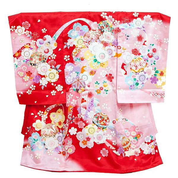 【レンタル】産着レンタル 女の子 赤×ピンク・束ね熨斗に花とまり 女の子 掛け着物 赤ちゃん着物