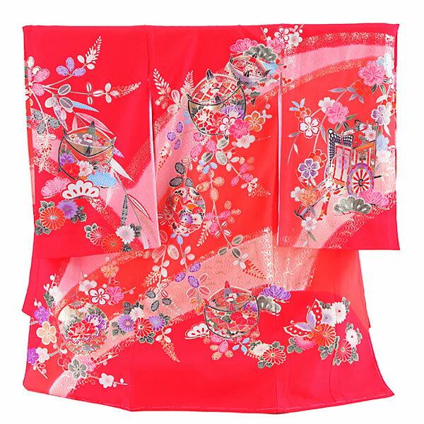 【レンタル】産着レンタル 女の子 正絹 赤・糸巻 女の子 掛け着物 赤ちゃん着物
