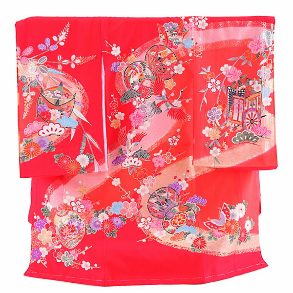 【レンタル】産着レンタル 女の子 正絹 赤・鼓 女の子 掛け着物 赤ちゃん着物