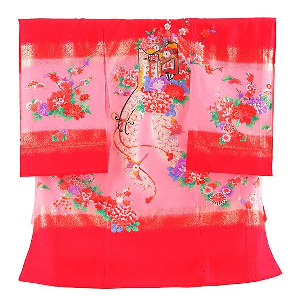 【レンタル】産着レンタル 女の子 正絹 赤×ピンク・御所車 女の子 掛け着物 赤ちゃん着物