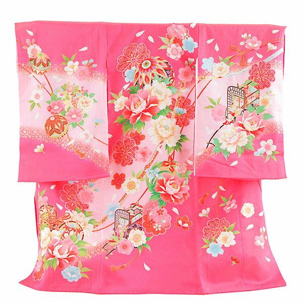 【レンタル】産着レンタル 女の子 正絹 ピンク・御所車と毬 女の子 掛け着物 赤ちゃん着物