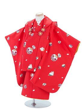 【レンタル】七五三レンタル 3歳着物 3歳 女の子 赤色・うさぎ 被布セット 七五三着物フルセット3才 子供着物 貸衣装