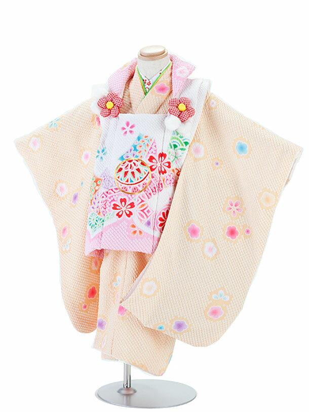 【レンタル】七五三レンタル 女の子 3歳着物フルセット 総しぼり・陽気な天使/オレンジ色着物×白地ピンク模様被布セット 子供着物 貸衣装 ブランド