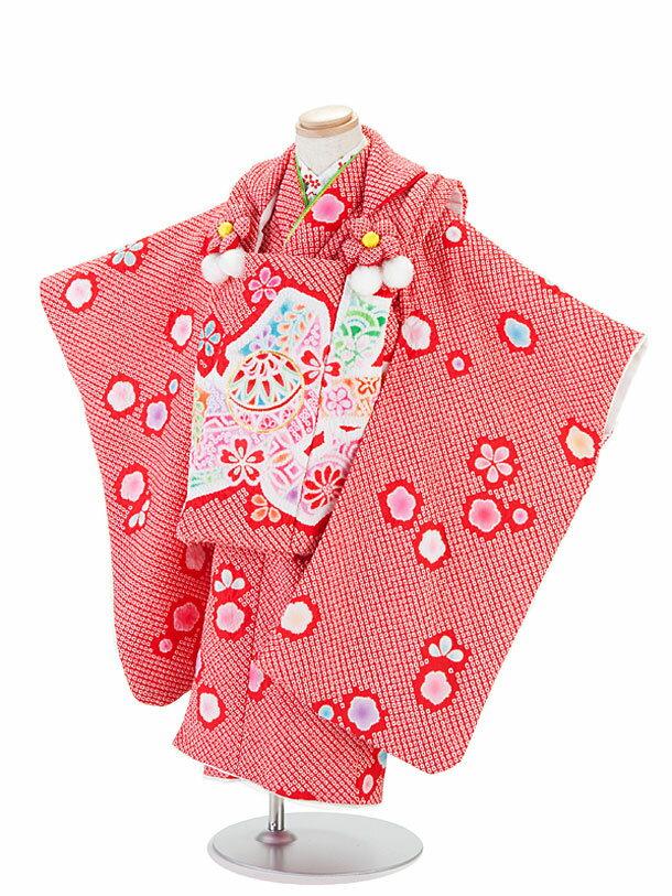 【レンタル】七五三レンタル 3歳着物 女の子 総しぼり・陽気な天使/赤色着物×赤地ピンク模様被布セット 貸衣装 ブランド