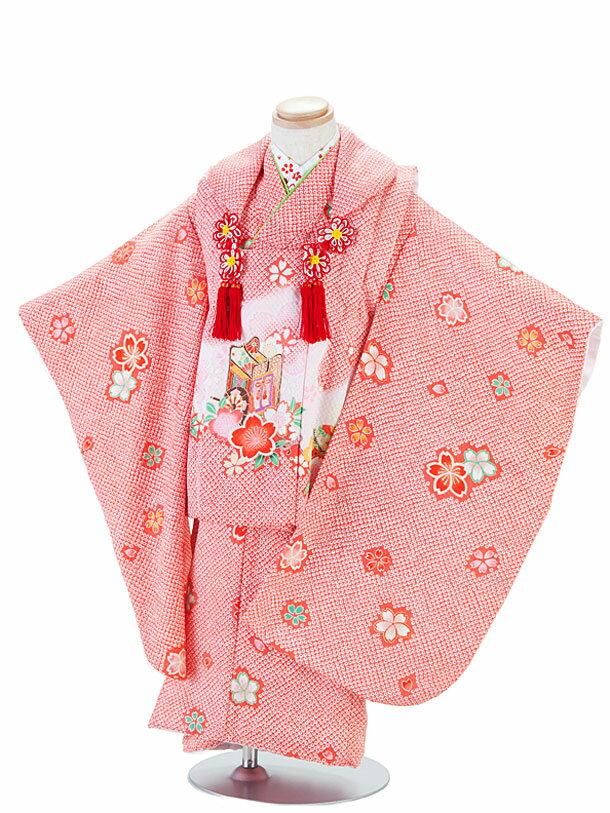 【レンタル】七五三レンタル 3歳着物 3歳 女の子 赤・しぼり風小花と御所車 被布セット 七五三着物フルセット 貸衣装