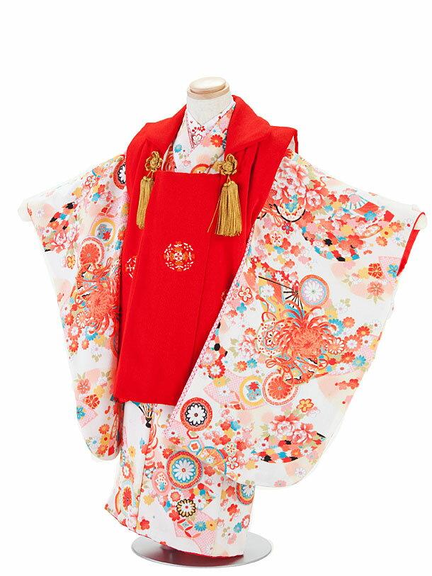 【レンタル】七五三レンタル 3歳着物 3歳 女の子 白色×赤・古典柄 被布セット 七五三着物フルセット 子供着物 貸衣装
