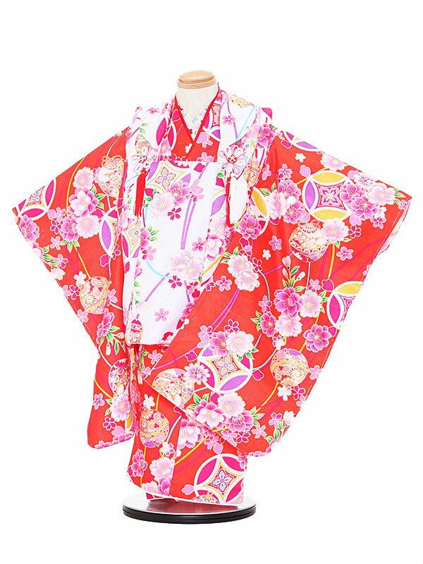 【レンタル】七五三レンタル 女の子 3歳着物フルセット 橙色着物×白色被布 花柄 被布セット 子供着物 貸衣装 3026