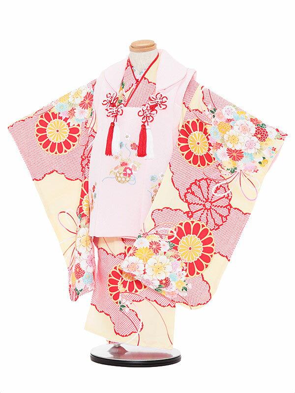 【レンタル】七五三レンタル 女の子 3歳着物フルセット赤と黄色着物×ピンク色被布 花 被布セット 子供着物 貸衣装 3056