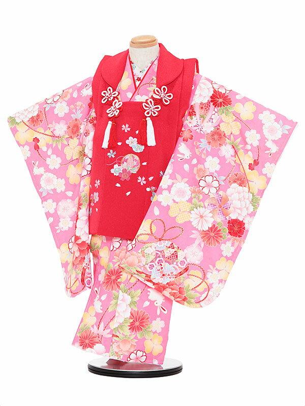 【レンタル】七五三レンタル 女の子 3歳着物フルセットaピンク色着物×赤色被布 桜 被布セット 子供着物 貸衣装 3064