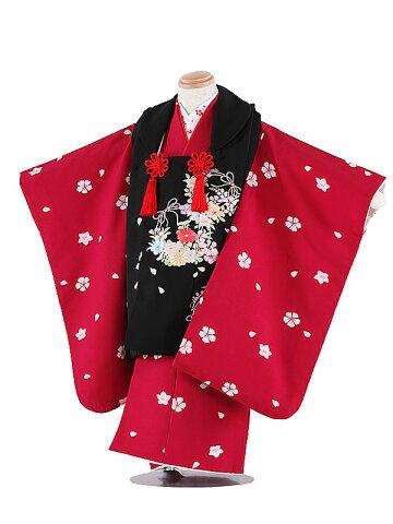 【レンタル】七五三レンタル 女の子 3歳着物フルセット 黒×ワインレッド着物被布 被布セット 子供着物 貸衣装 ブランド 3109