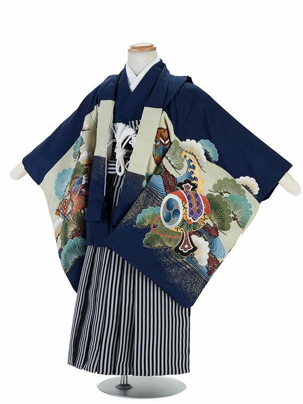 【レンタル】七五三レンタル 着物 男児3歳4歳5歳 5才小さめ男児フルセット 紺・鷹柄・羽織袴