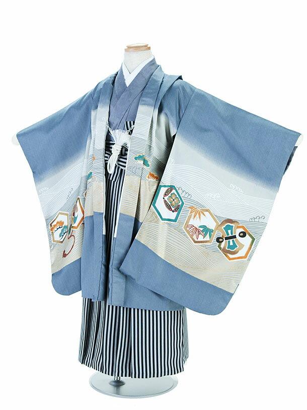 【レンタル】七五三レンタル 5歳着物 男の子 フルセット 青(ブルー)×灰色(グレー)・鷹柄・羽織袴 015 卒園式 貸衣装 きもの