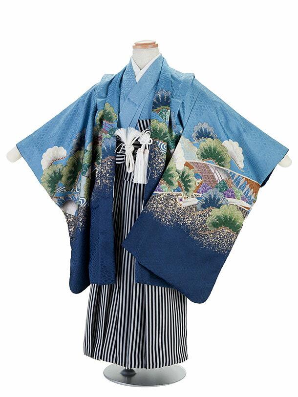 【レンタル】七五三レンタル 5歳着物 男の子 フルセット 青×水色・鷹柄・羽織袴 卒園式 貸衣装 きもの