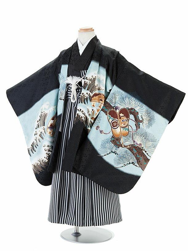 【レンタル】七五三レンタル 5歳着物レンタル 男児フルセット 黒×青(ブラック×ブルー)・兜柄・羽織袴 12-8 卒園式 貸衣装 きもの