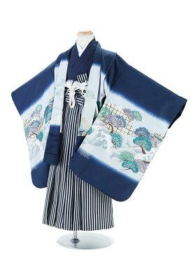 【レンタル】七五三レンタル 着物 5歳男の子 フルセット 紺・馬柄・羽織袴 7-5 卒園式 貸衣装 きもの