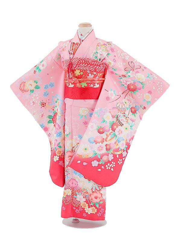 【レンタル】七五三レンタル 着物 7歳着物 女の子 ピンク色・小花柄 フルセット7才 貸衣装 子供着物