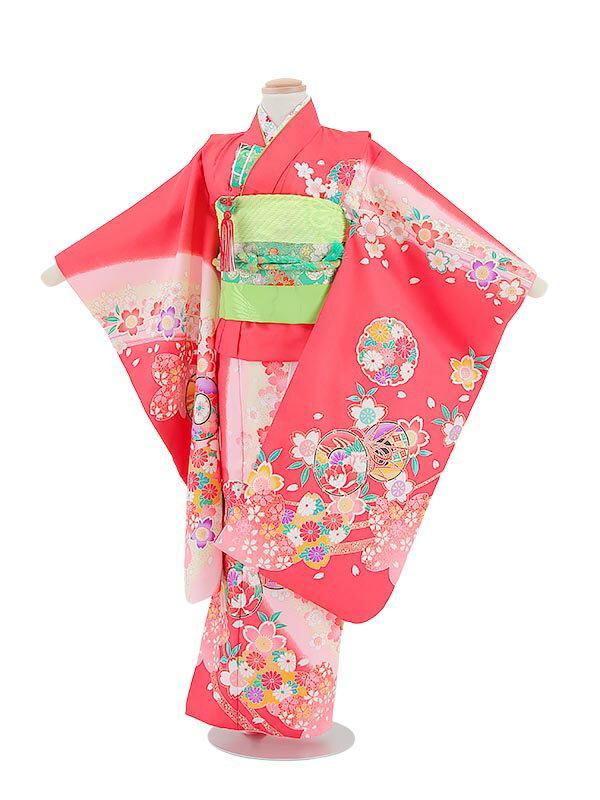 【レンタル】七五三レンタル 7歳着物 女の子 赤・鼓(つづみ)柄 フルセット7才 貸衣装 子供着物