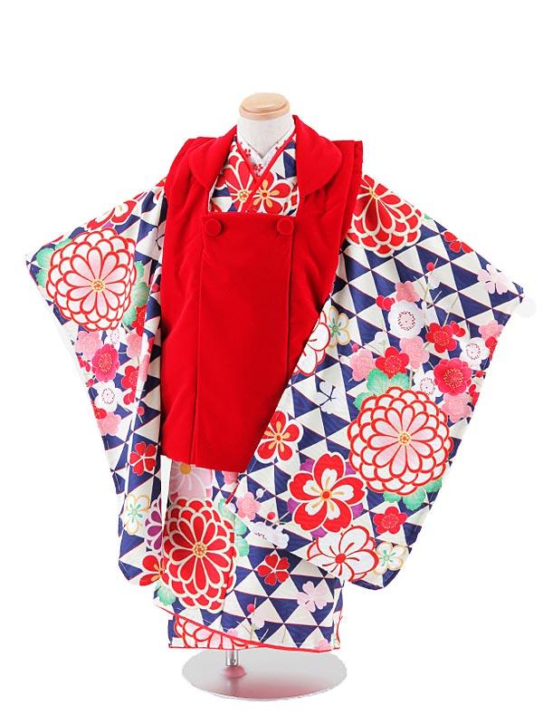 【レンタル】七五三レンタル 女の子 3歳着物フルセット 赤色ベルベット×青系幾何学模様花柄 被布セット 子供着物 貸衣装