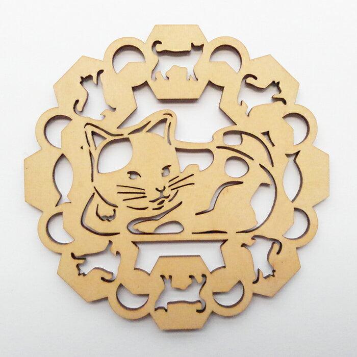 木製コースターミケネコ