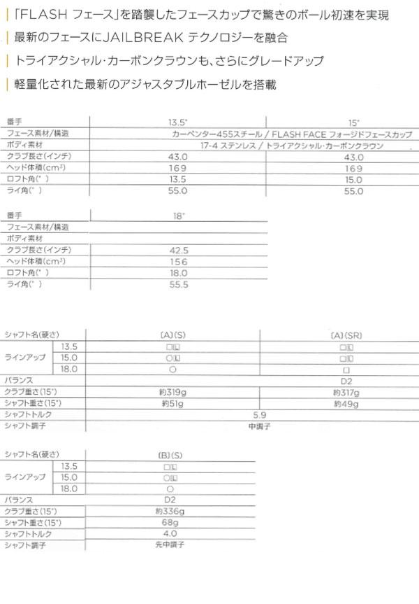 キャロウェイ エピック フラッシュ サブゼロ  フェアウェイウッド [テンセイ CKプロ オレンジ]  カーボンシャフト TENSEI CK PRO ORANGE CALLAWAY EPIC FLASH SUBZERO FW