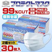 ●プロテクトマスク 30枚(個別包装)×4箱 送料無料 マスク 不織布 使い捨て