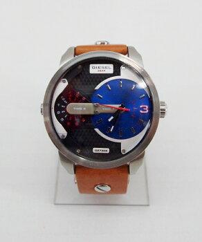 DIESEL(ディーゼル)DZ-73082time表示レザーストラップカラー:シルバー・ブラウン【】【時計】【鈴鹿併売品】【141-170509-07OS】