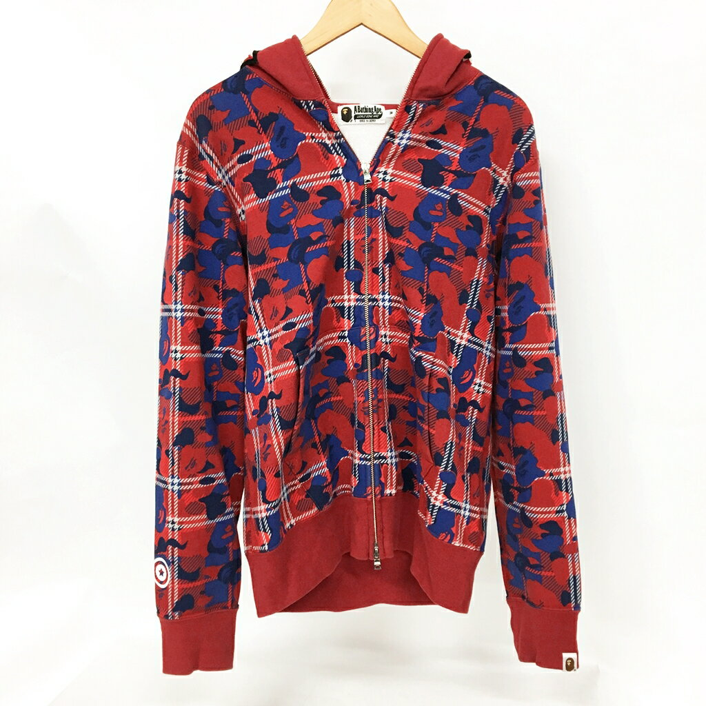 トップス, パーカー A BATHING APE BAPE CHECK CAMO SHARK FULL ZIP HOODIE M 126-190930-02AS