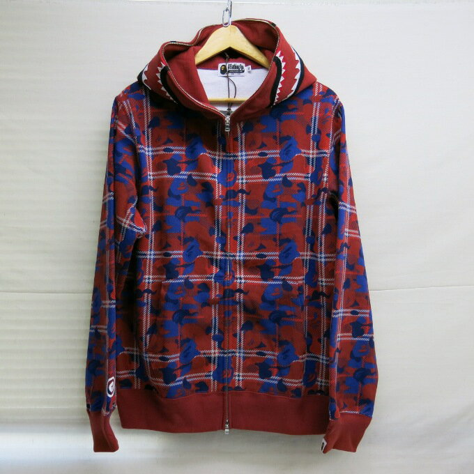 トップス, パーカー A BATHING APE 18SS BAPE CHECK CAMO SHARK FULL ZIP HOODIE XL 126-180220-01USH