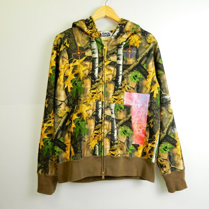 トップス, パーカー A BATHING APE BAPE FOREST CAMO WIDE FULL ZIP HOODIE M 126-190519-01YH