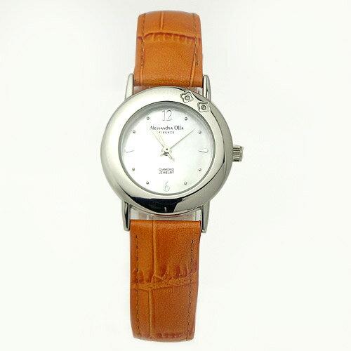 腕時計 レディース アレサンドラオーラ Alessandra Olla 天然ダイヤ2P入り レディース腕時計 レディースウォッチ AO-6900 オレンジ 送料無料