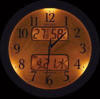 掛け時計 壁掛け時計 温湿度計 電波時計 シチズン リズム時計 カレンダー 温湿度計付 ピュアカレンダーM617SR 4FY617SR23 CITIZEN