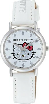 ハローキティ HELLO KITTY 腕時計 ガールズ レディース ウォッチ シチズン Q&Q アナログ 革ベルト 日本製 ラメ ホワイト CITIZEN 0009N001