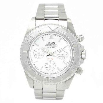 エルジン腕時計メンズウォッチクロノグラフ日本製ムーブメント200M防水ホワイトFK1120S