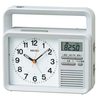 供SEIKO CLOCK精工鐘表防災模擬鬧鐘準備充電收音機LED燈非常使用的蜂鳴器行動電話充電KR885N座鐘