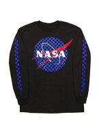 NASA/MEATBALLLOGOLSナサオフィシャルTシャツ長袖ロンTチェック柄