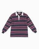 バーバリアン【BARBARIAN】GNBSS L/S PFF06(コール/ホワイト/ダークレッド/ネイビー)長袖 レギュラーカラー ラガーシャツ ボーダー