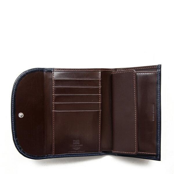 ホワイトハウスコックス【WhitehouseCox】型番:S7660(ネイビー×ハバナ)ブライドルレザー2トーンコインケース付三つ折り財布