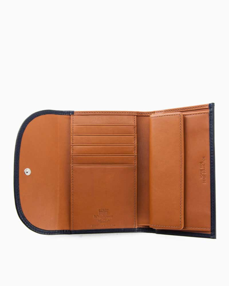 ホワイトハウスコックス【WhitehouseCox】S7660(ネイビー×タン)ダービーコレクションホースハイドコインケース付三つ折り財布
