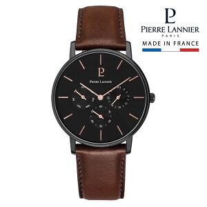 腕時計 メンズ ブランド ピエールラニエ マルチファンクション ウォッチ ブラック文字盤 ブラウン レザーベルト 本革ベルト 丸型 防水 秒針 P209f434 お祝い