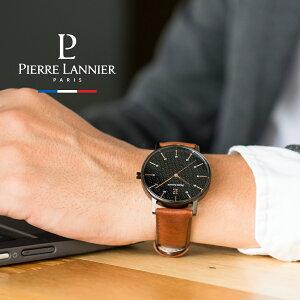 腕時計 メンズ ブランド ピエールラニエ シティライン レザーべルト ウォッチ ブラック 5気圧 防水 本革 ベルト 丸型 秒針 p203f434 ペアウォッチ おすすめ お祝い